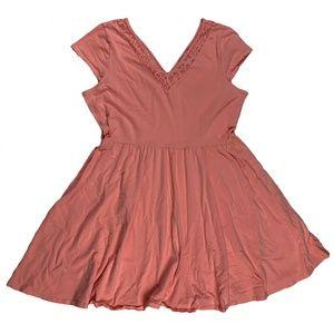 Lauren Conrad Pink Lace Cotton Fit & Flare Dress